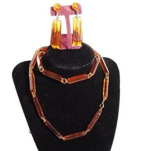 Vintage Lucite Tortoiseshell Necklace Earrings
